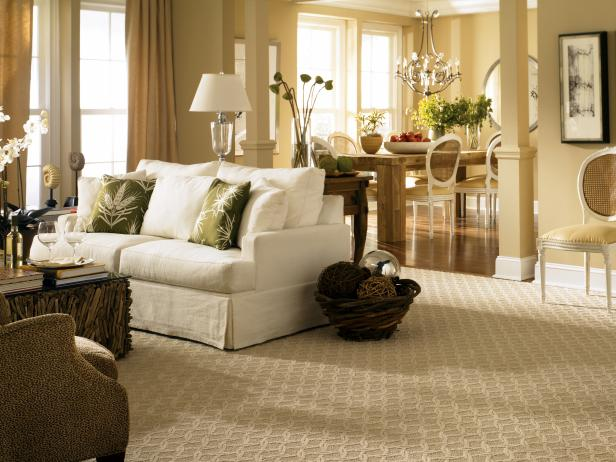 Adorable Interior Living Space Using Carpet also White Sofa With Pillows