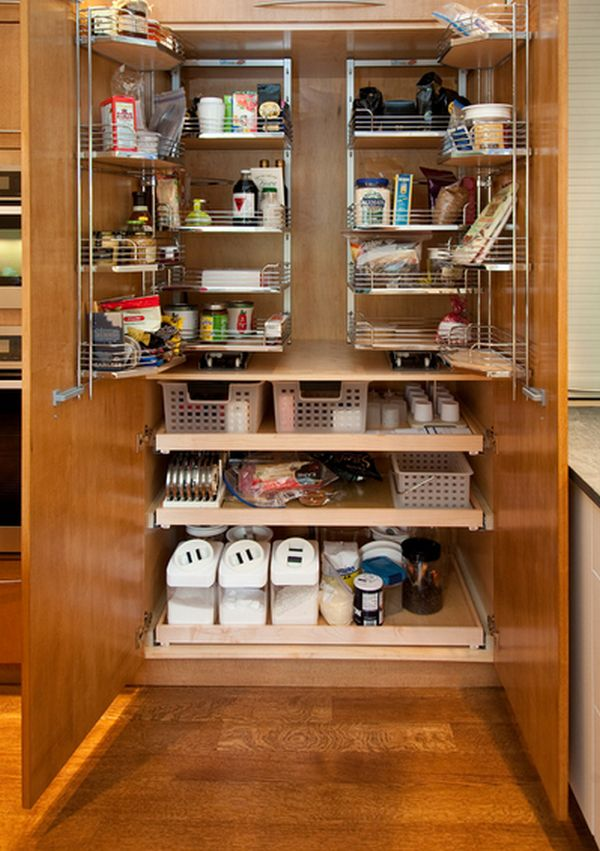 Adorable Kitchen Pantry Storage Using Wooden and Stainless Steel Rack