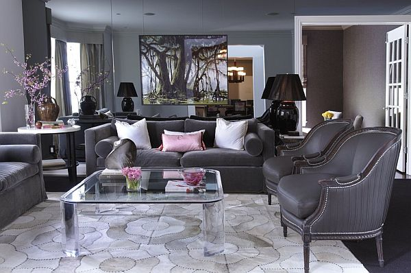 Alluring Big Sofa in Formal Living Room Ideas with Glass Table on Chic Floor