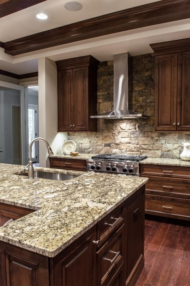 Creating a Nice Kitchen Style by Applying Stacked Stone ... on Granite Countertops With Backsplash  id=93368