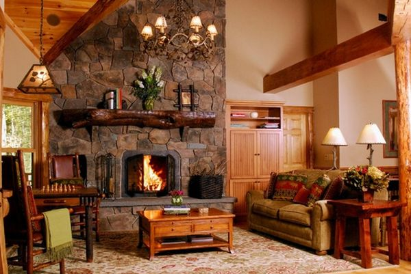 Alluring Lamplight and Great Stone Fireplace Surround with Best Wooden Element Furniture Decor