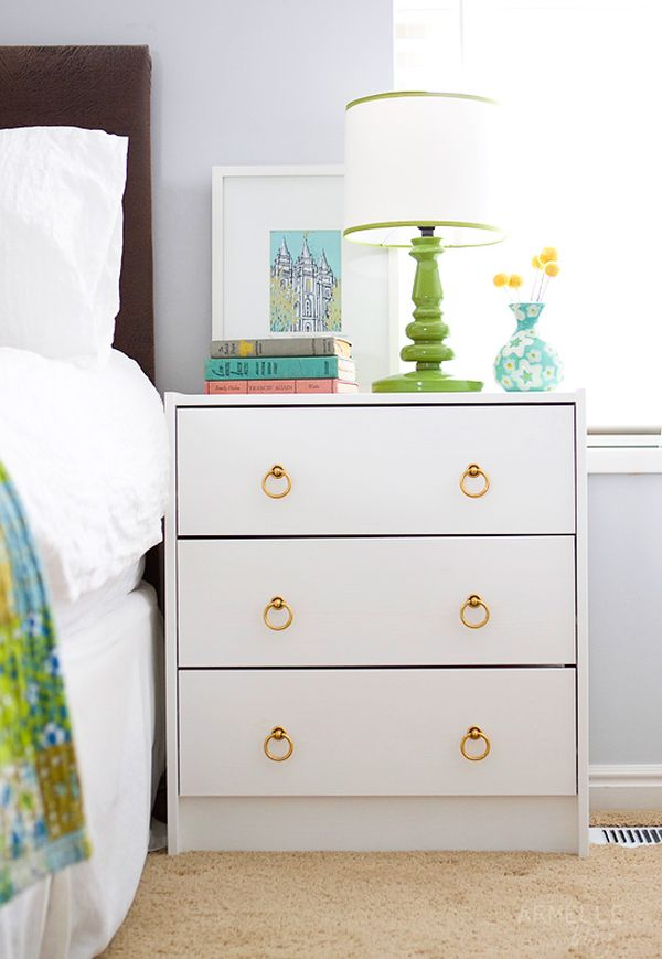 Alluring White Beside Table with Chic Golden Color Accent and Simple Three Drawer