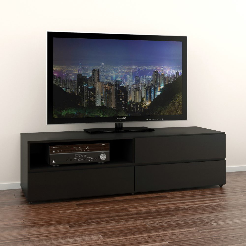 Amazing Black Wall Mount TV Stand Placed inside Stunning Room with Laminate Hardwood Flooring