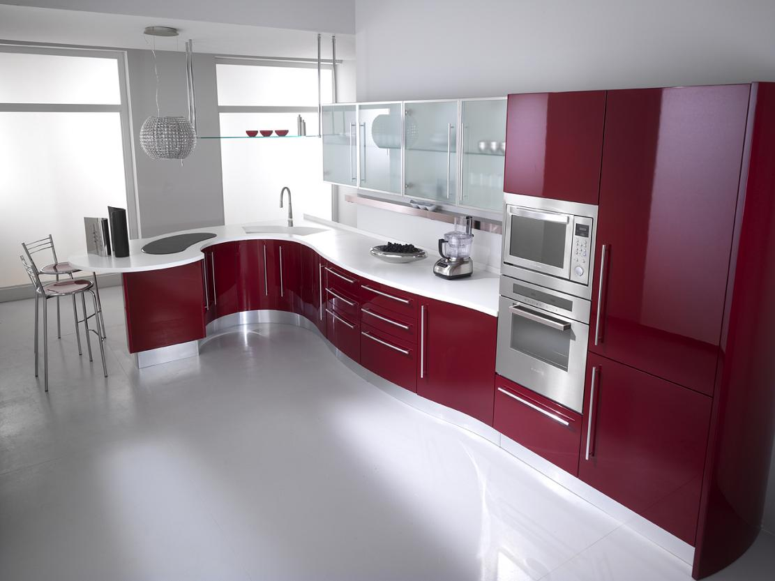 Angelic Interior Kitchen Using Red Kitchen Cabinets With Shiny White Top