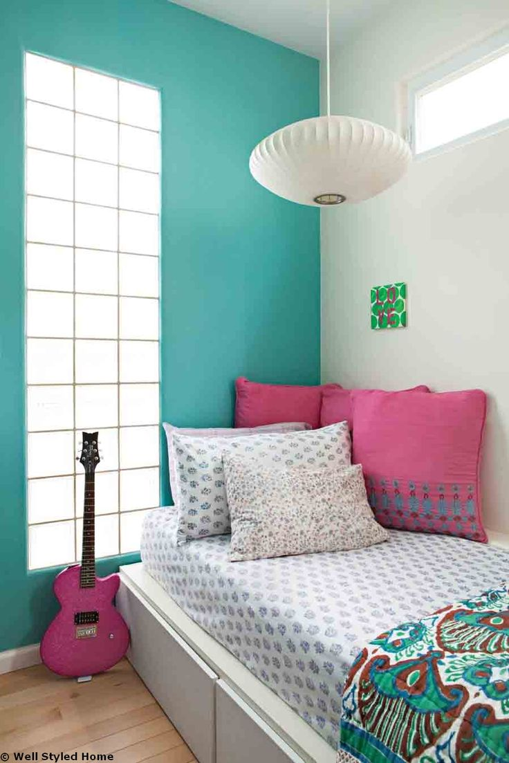 Appealing Blue Wall facing Chic Hanging Lamp plus Glass Window