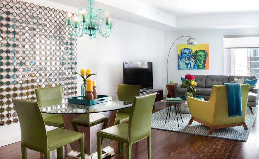 Appealing Chandiliers above Best Green Dining Table on Wooden Floor