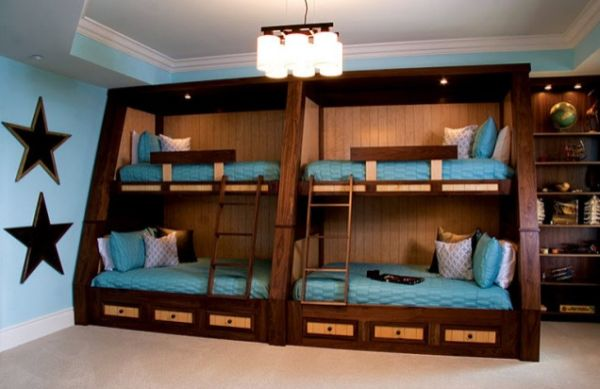 Appealing Design for Double Bunk Beds with Blue Color and Best Wooden Element