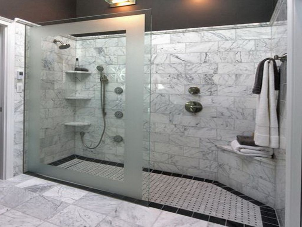 Genial Appealing Grey Marble Tile Wall Decorating Stylish Walk In Shower Designs  With Glass Door