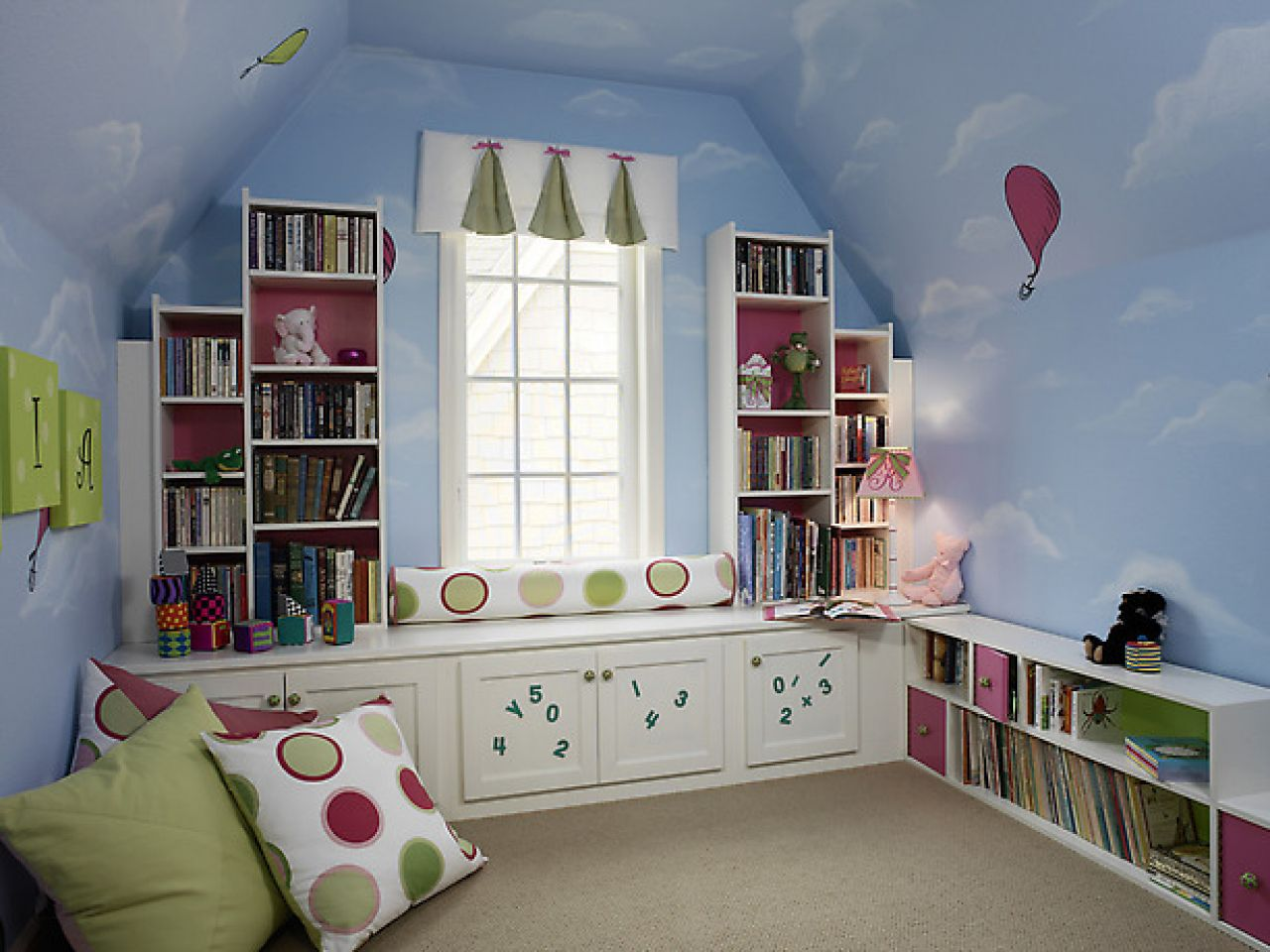 Appealing Teen Room Ideas with Tidy Bookshelves and Cozy Bay Seats Window near Big Cushions