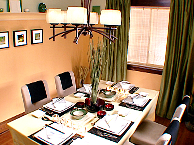 Appealing Wooden Japanese Dining Table and Chair Under Pendant Lighting