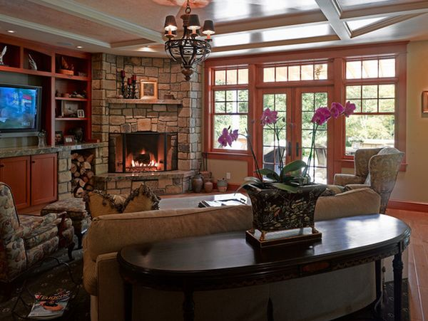 Exceptionnel Appelaing Flower Accent For Faux Stone Fireplace Facing Brown Sofa On Large  Floor