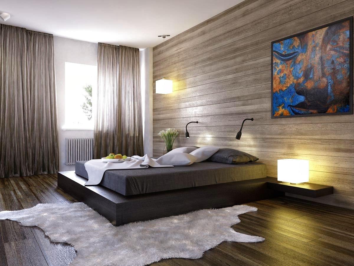 Artistic Wall Painting And Wooden Decorative Panels Inside Wonderful Bedroom With Wide Platform Bed