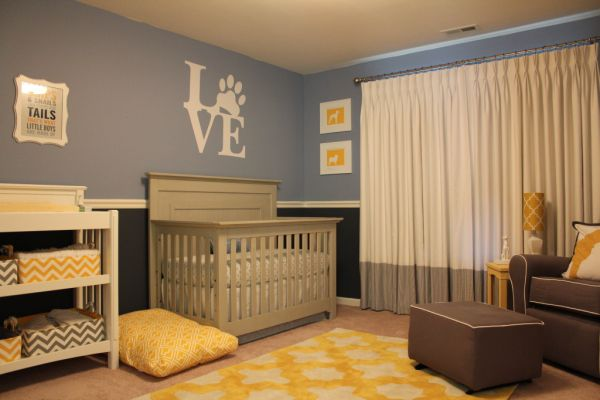 Attractive Ambience from Yellow Color Accent in Boy Nursery Themes plus Blue Wall