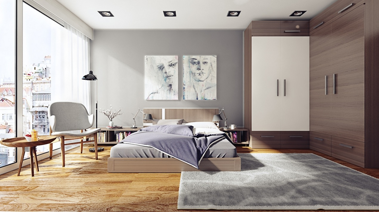 Attractive Artwork on Chalk Wall for Grey Bedroom Ideas with Bright Pure Ambience