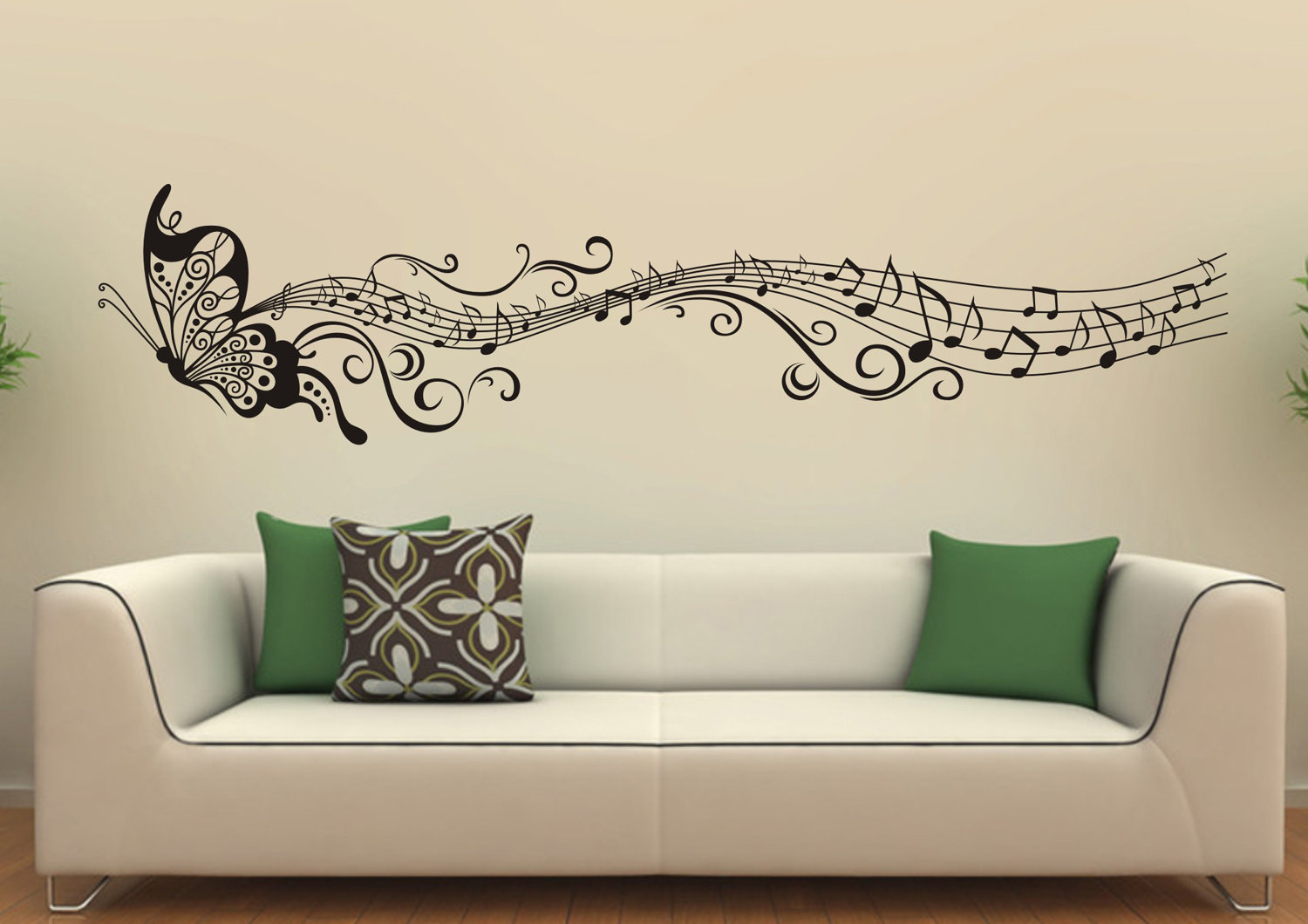 Attractive Butterfly Shaped Mural Wall Decoration Ideas above Long White Sofa Completing Comfy Sitting Room