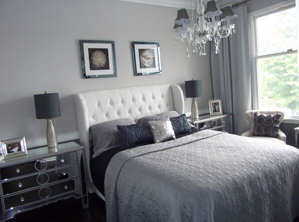 Attractive Decorating for Grey Bedroom Furniture with Sleeky Surface and Best Hanging Lamp