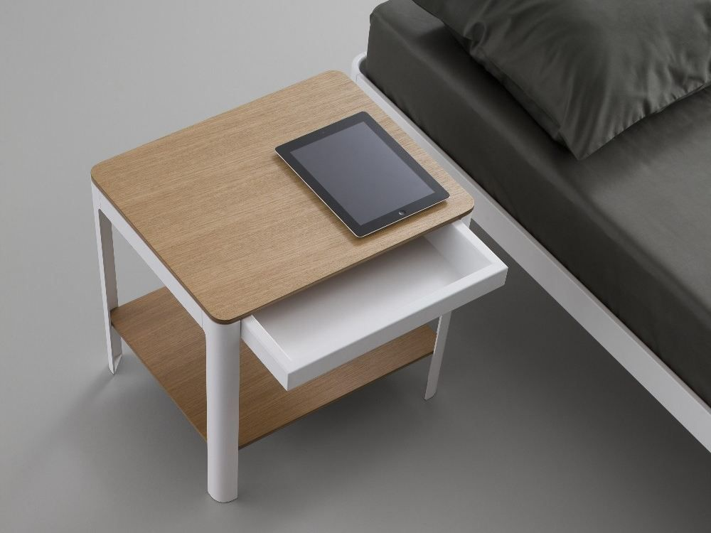Attractive Design for White Beside Table with Wooden Element on Large Dust Floor