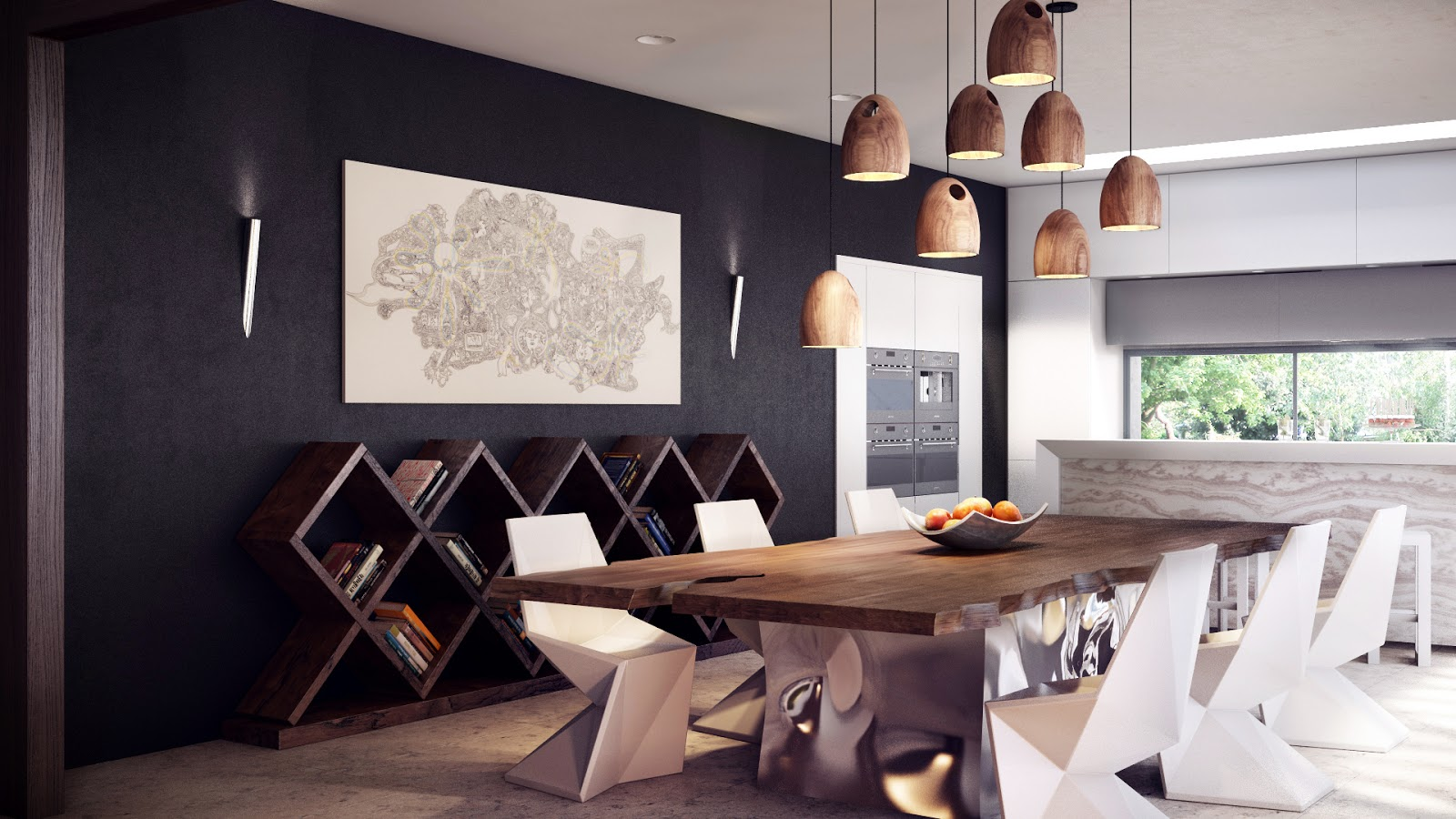 Attractive Dining Space Using Wooden Modern Kitchen Tables also Lush Chairs