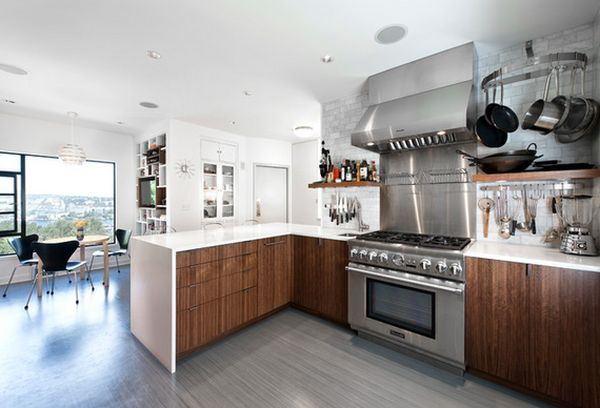 Attractive Streaky Motive for Kitchen Flooring Options with Parquet Element plus Dark Color