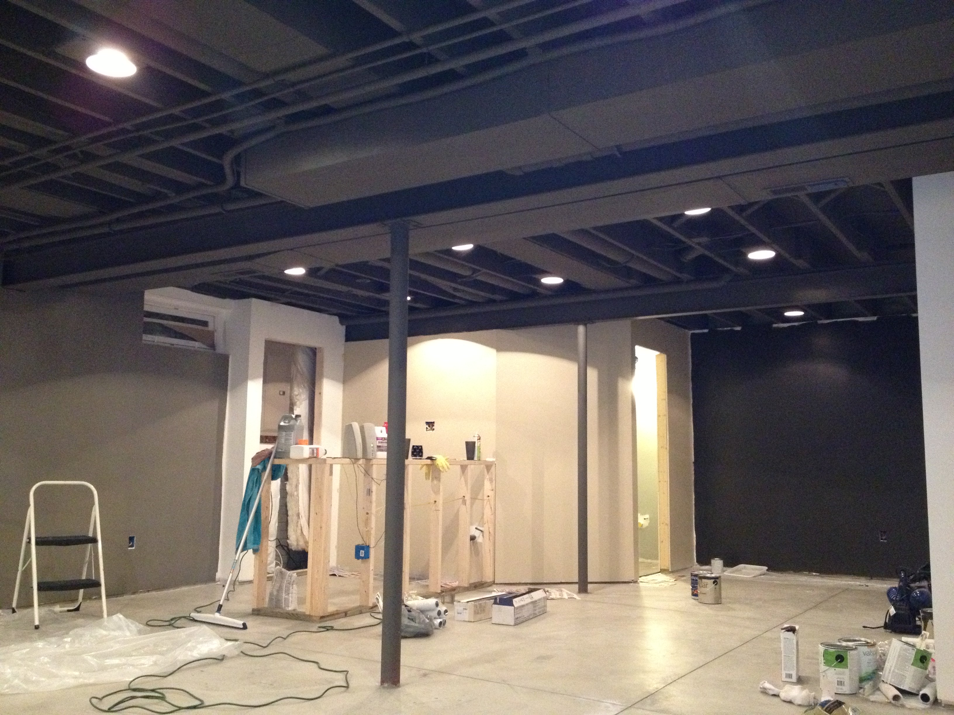 Awesome Basement Ceiling Ideas for Stunning Room with Grey Painted Wall and Marble Flooring