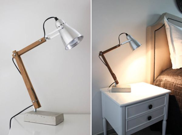 Awesome Bed Side Tables Design Using Wooden Pipe and Chrome Shade