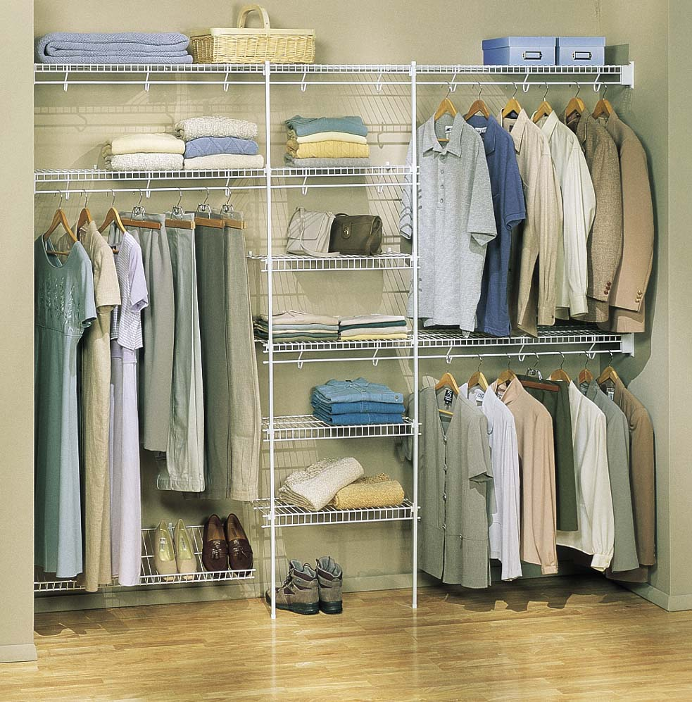Awesome Closet Organizer Ideas for Small Space with Shoes Shelves and Clothes Hangers on Hardwood Flooring