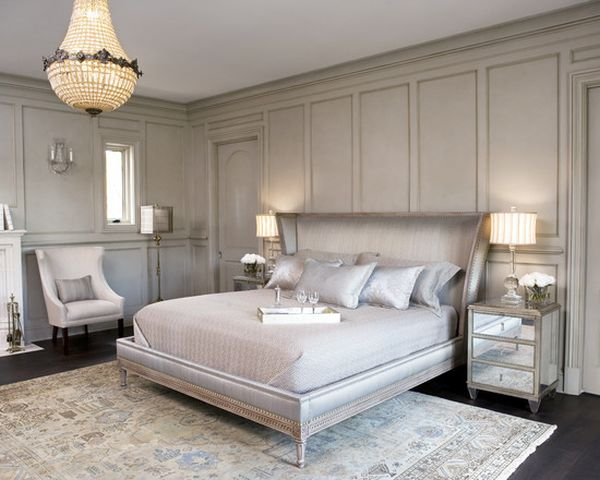 Awesome Decorating for Grey Bedroom Furniture with Big Double Bed under Great Lamp