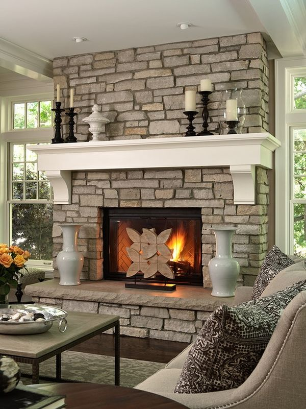 Awesome Design for stone Fireplace Surround with Best Accessory under Large Chalk Ceiling