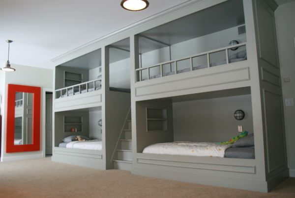 Awesome Double Bunk Beds with Grey Color under Big Downlight plus Red Mirror