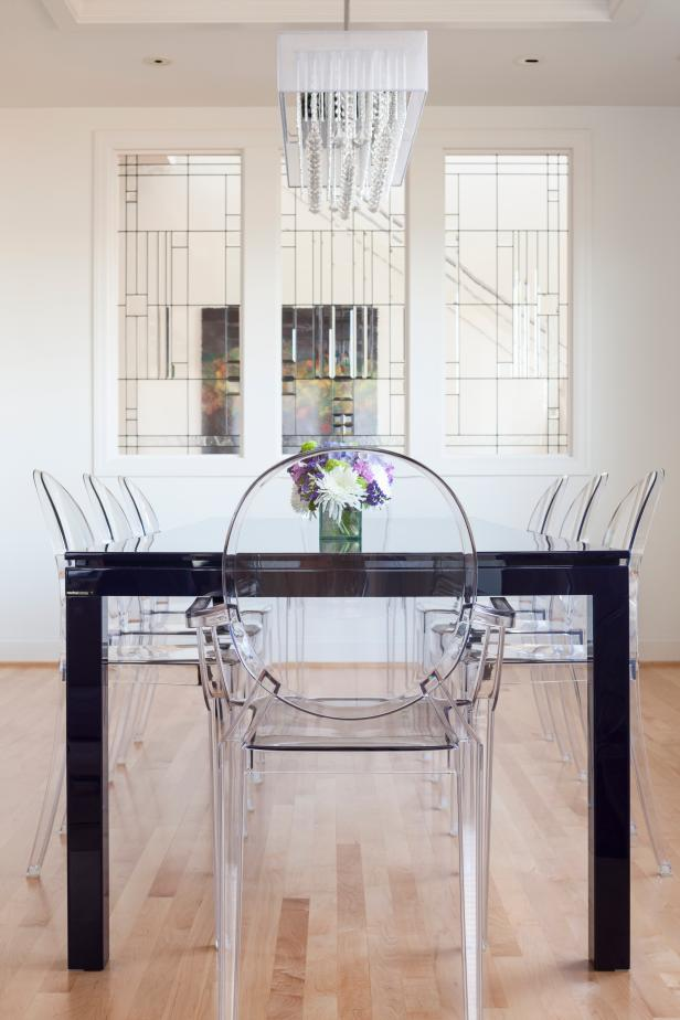 Awesome Glass Element in Modern Dining Sets with Bright Chair around Dark Table