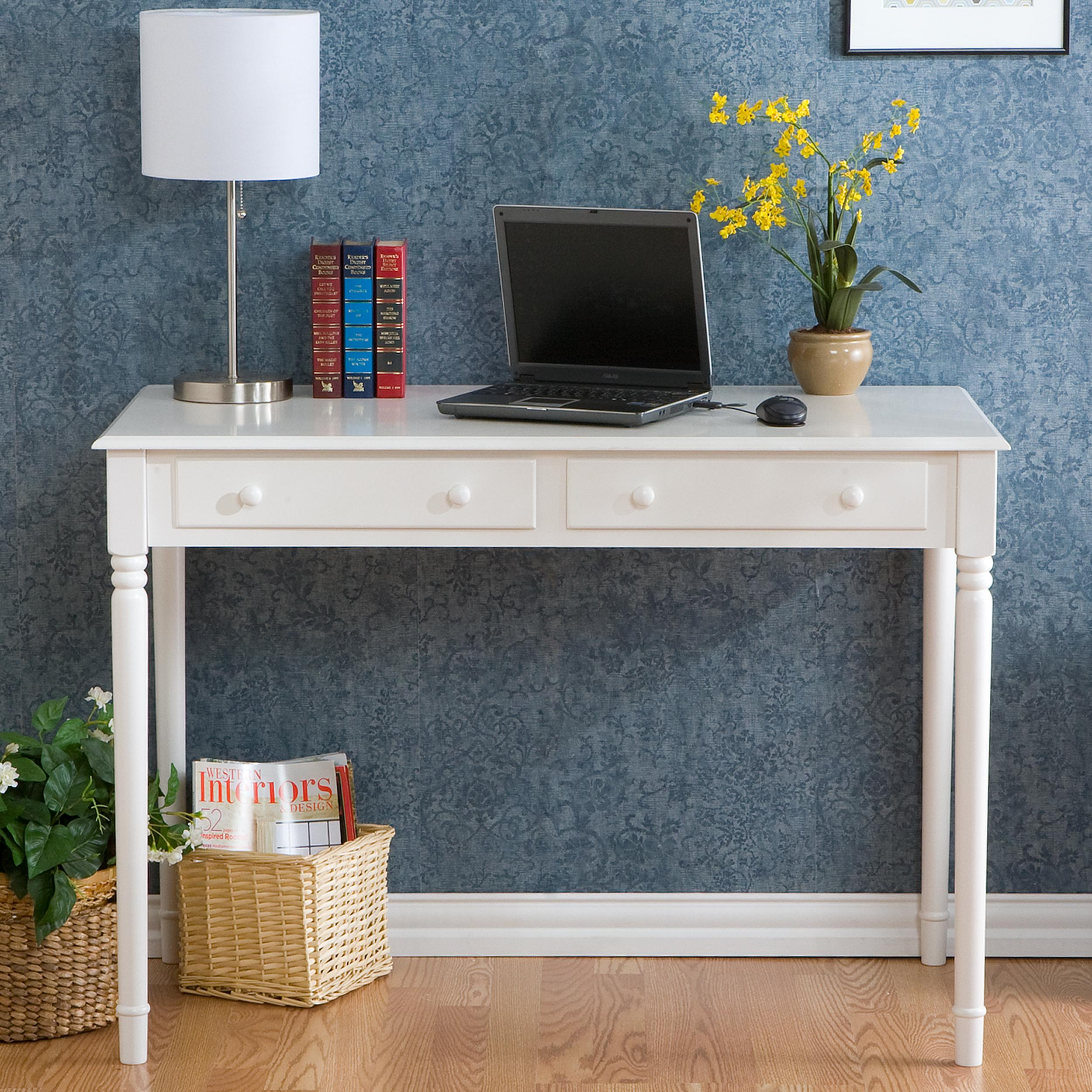 Awesome Grey Wallpaper Completing Old Fashioned Home Office using White Desk with Drawers and Table Lamp