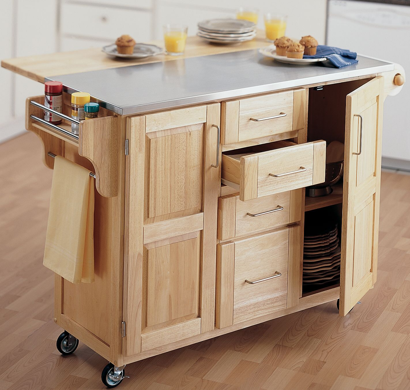 Awesome Oak Rolling Kitchen Island with Cloth Handle and Small Drawers under Grey Top