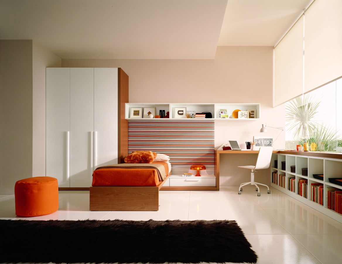 Awesome Orange Ottoman and Wooden Bed in Modern Boys Room Decor with White Swivel Chair