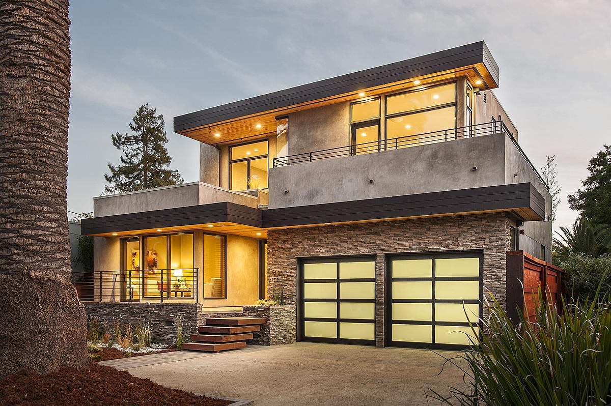 Awesome Stone Wall and Clear Glass Windows for Modern Prefab Homes Facade with Garage Doors