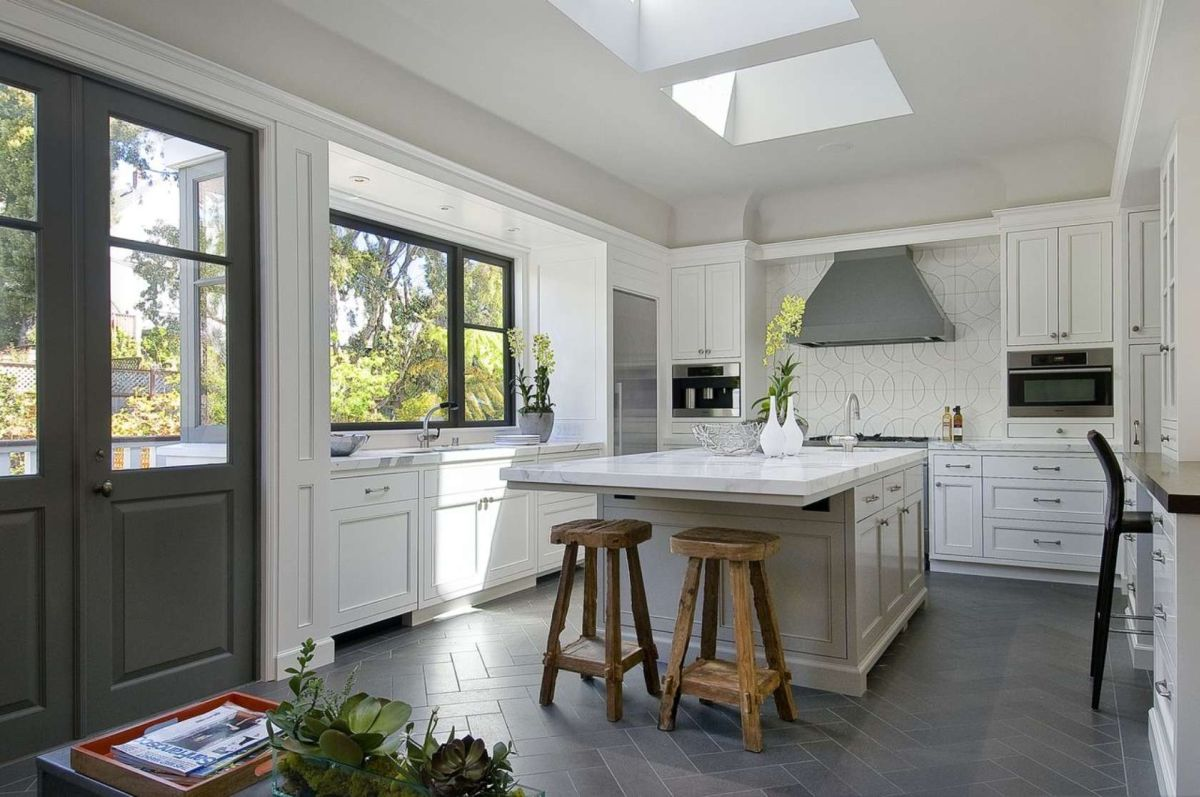 Awesome Tile Design Kitchen Flooring Options With Dark Color Accent Under  Best Skylight