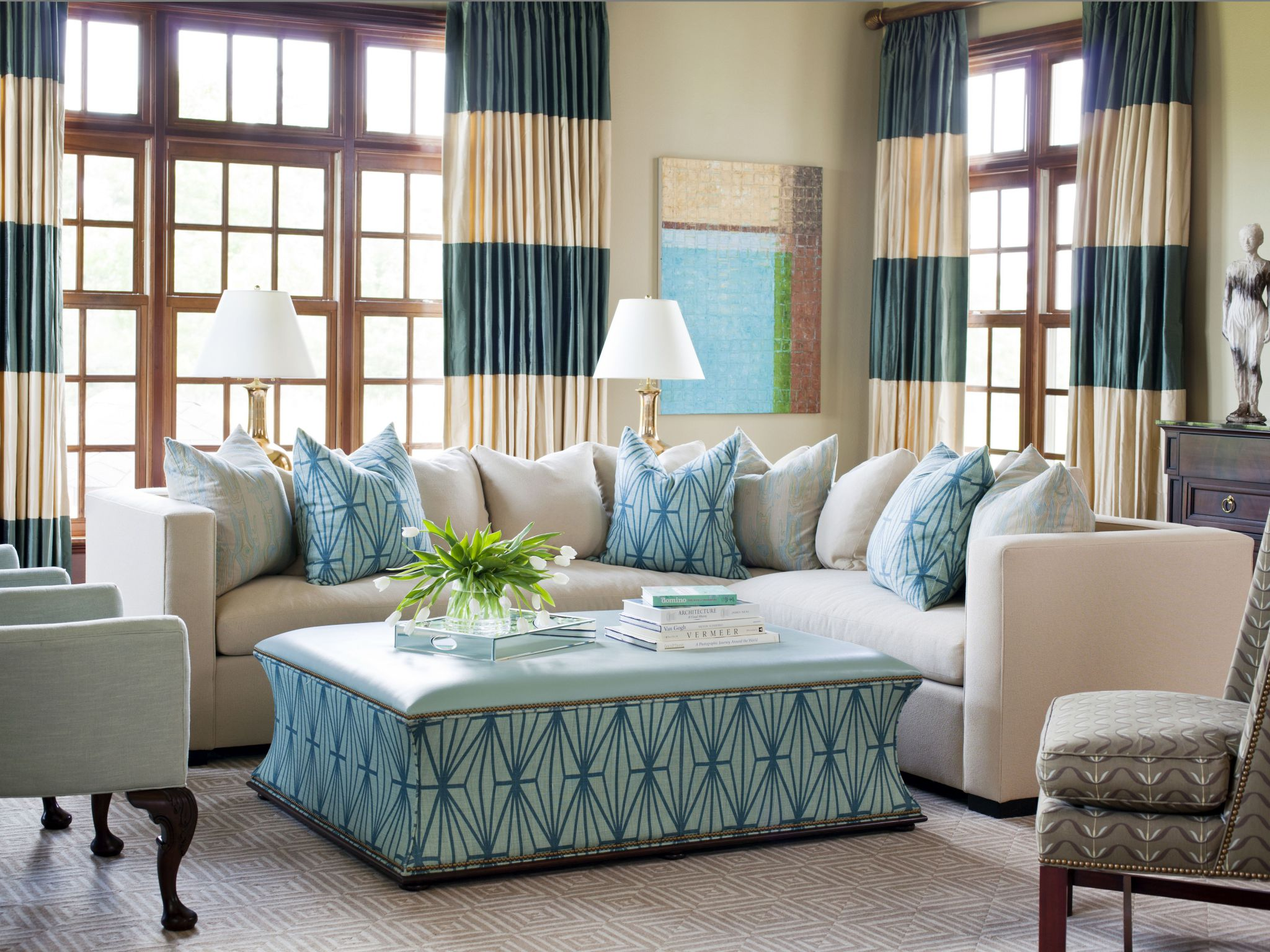 Awesome White Living Room Furniture with Blue Color Accent and Cozy Sofa plus Big Curtain