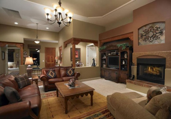 Awful Interior Rustic Living Room Ideas Using Wooden Shelve near Fireplace