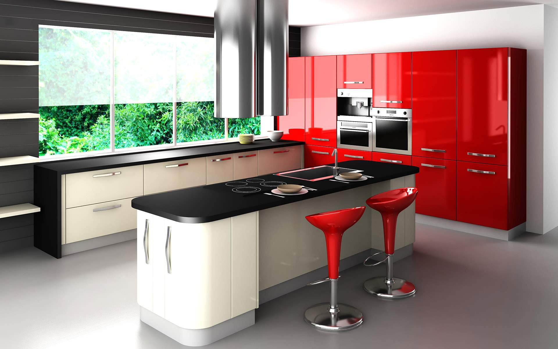 Beautiful Kitchen Decor Ideas Using Red Cabinet Also Bar Chair