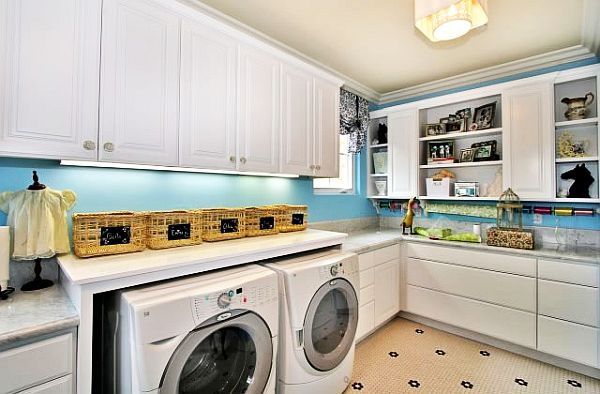 Marvelous Best Decorating In Laundry Room Design With Big White Cabinets Close Blue  Wall