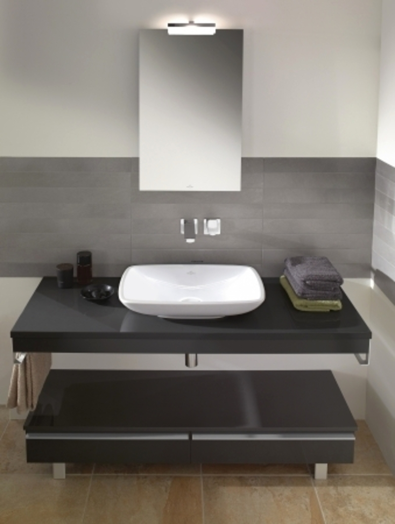Black Bathroom Vanity Ideas And White Sink Under Stylish Wall Faucet And  Modern Wall Mirror