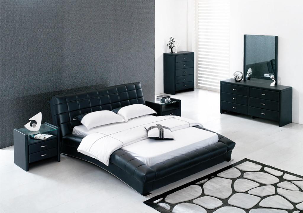 Black Bed And White Bedding Near Dark Dressers As Appealing Ikea Bedroom  Furniture For Wide Room
