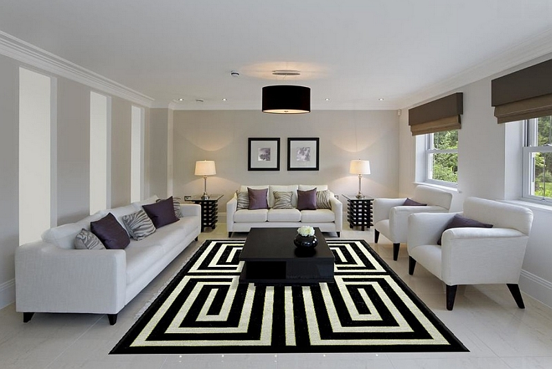 Black Shaded Ceiling Lamp Completing Simple Living Room with White Sofas and Black and White Rug