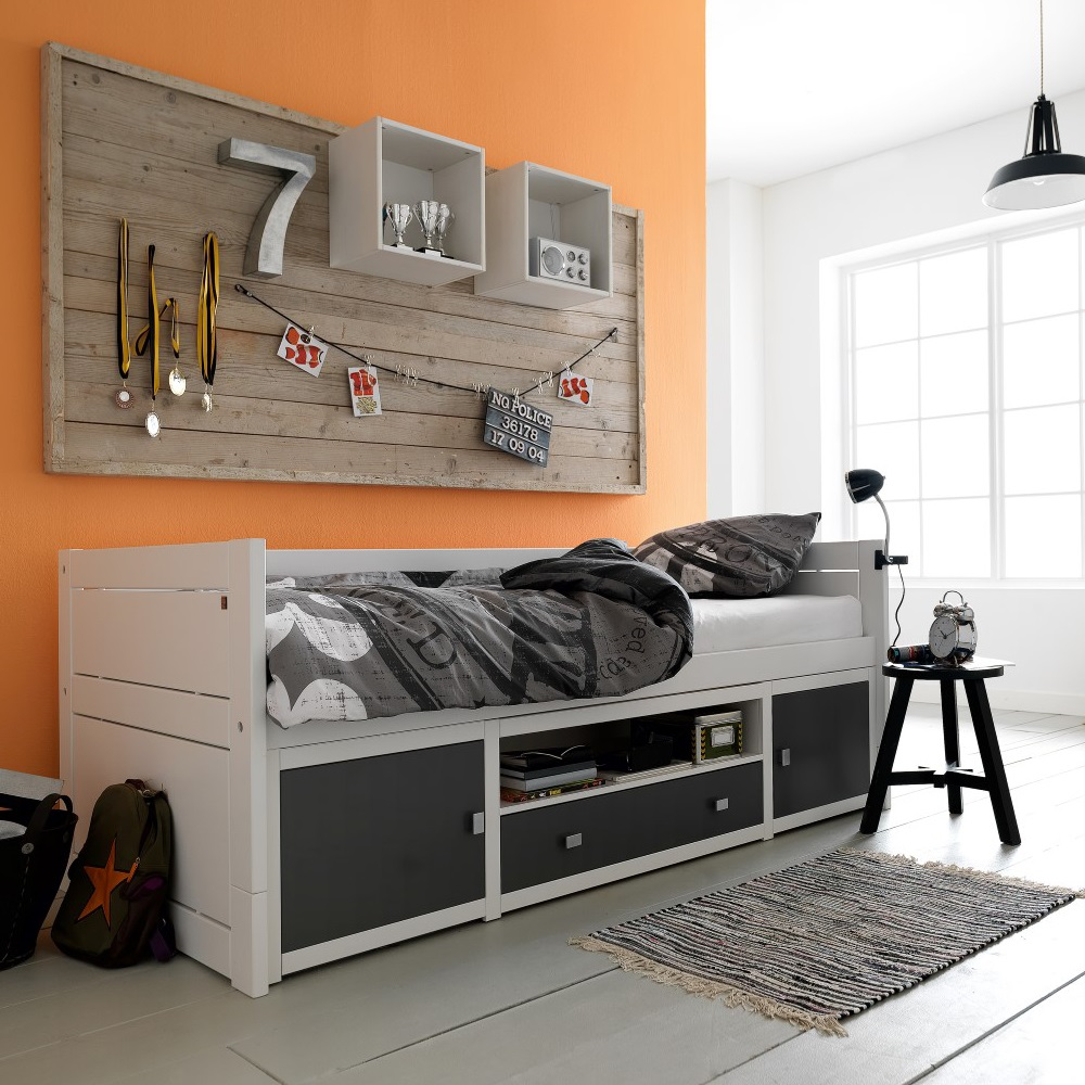 Exceptionnel Black Side Table And White Kids Beds With Storage Completing Attractive  Bedroom With Orange Painted Wall