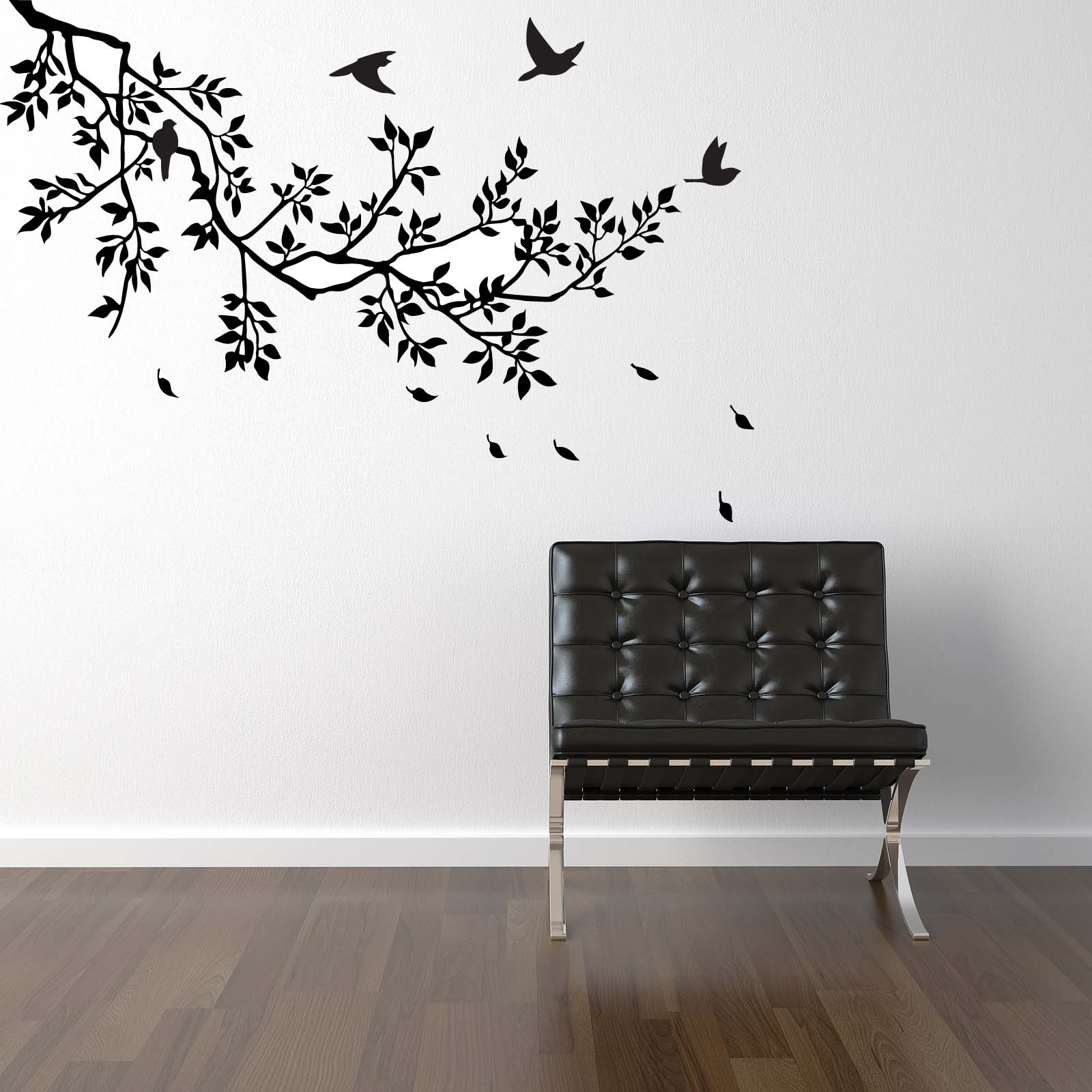 Black Tree Wall Decoration Ideas on White Painted Wall Used in Simple Room with Laminate Flooring