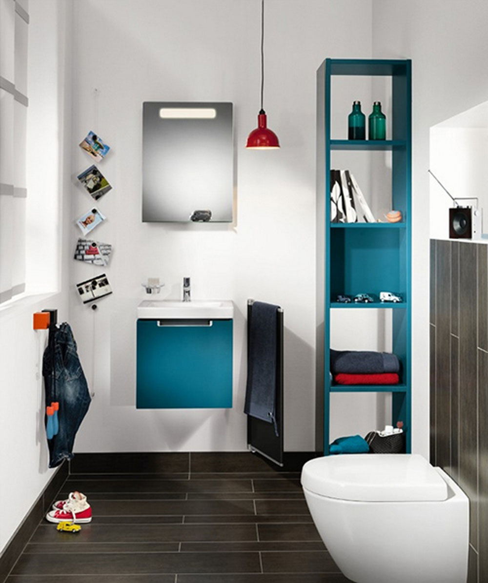 blue kids bathroom sets with floating vanity and tidy shelves on white painted wall - Bathroom Designs Kids