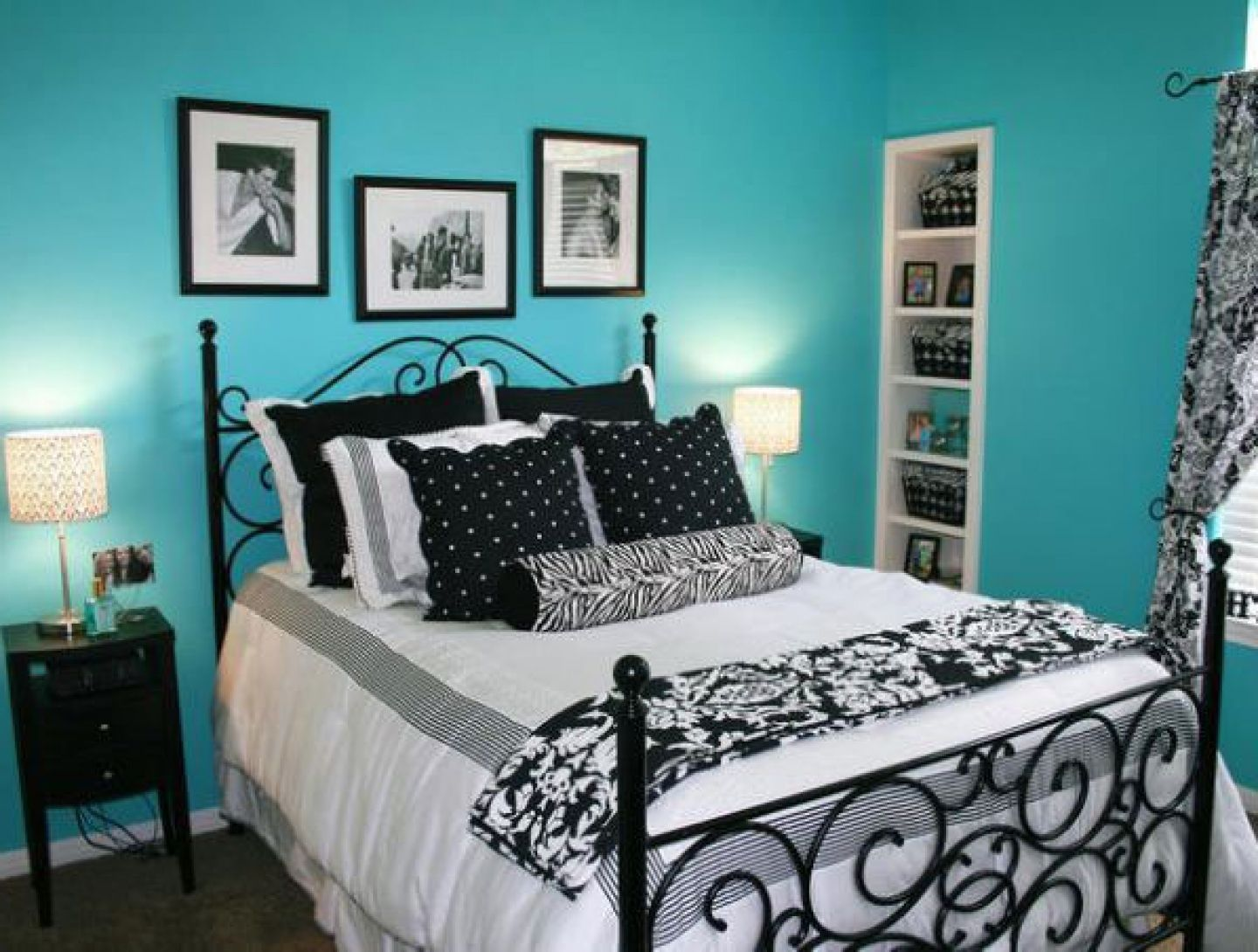 Blue Painted Wall and Classic Black Bed Used in Contemporary Bedroom Ideas for Teens with Small Nightstand
