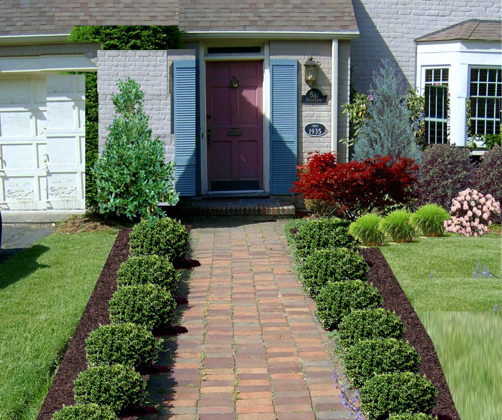 Various front yard ideas for beginners who want to for How to plant bushes in front of house