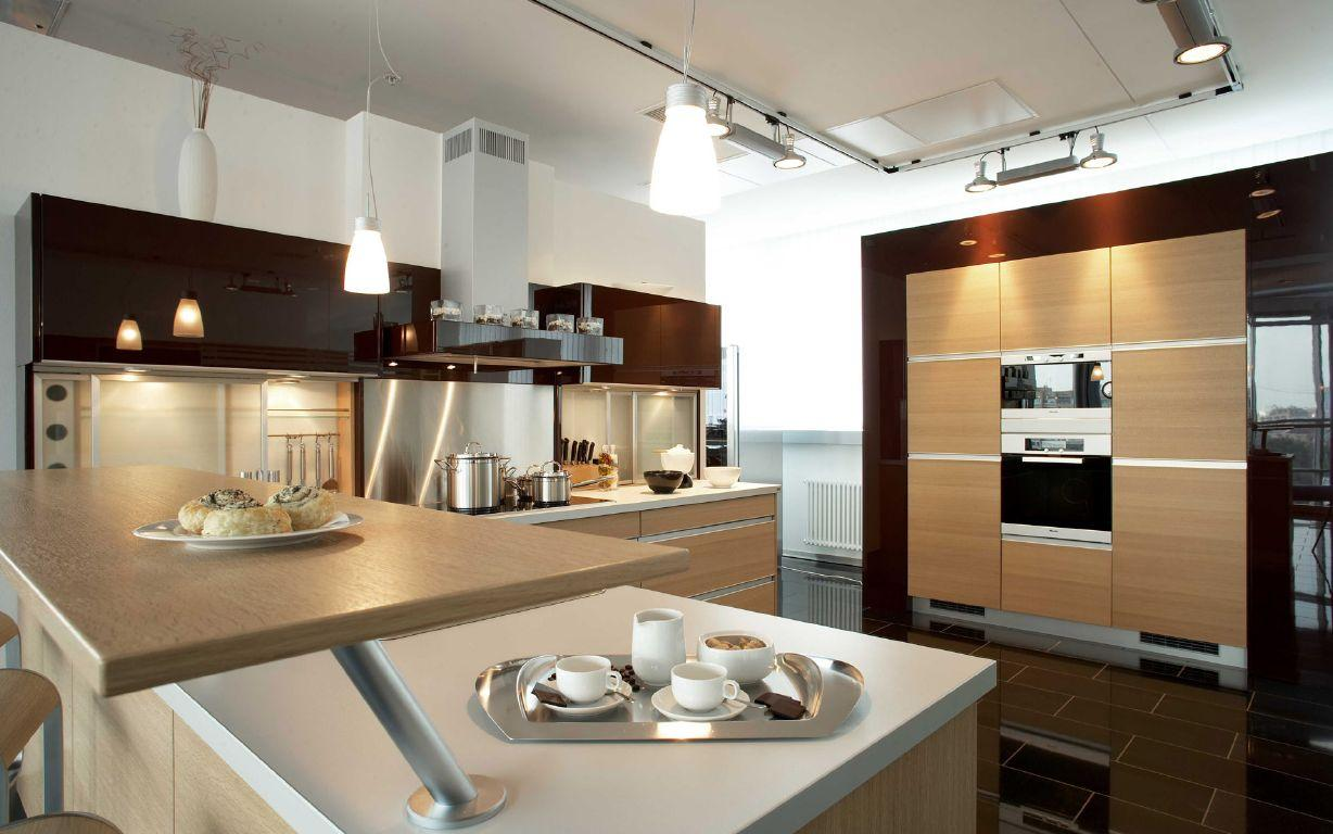 Bright Kitchen Lighting Ideas for Stylish Kitchen with White Countertop and Wooden Counter