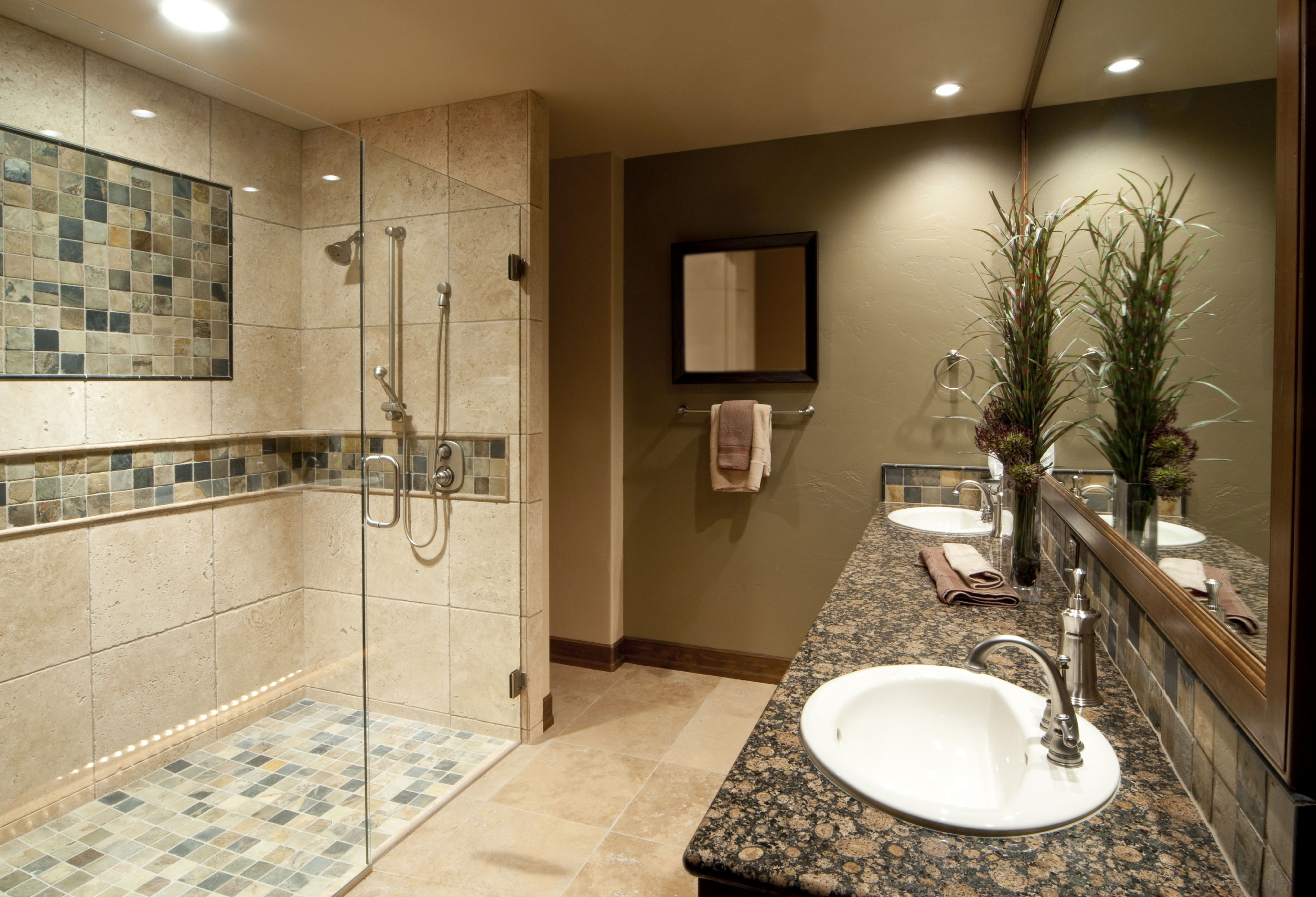 Bright Lamp above Appealing Tile Shower Ideas near Glass Wall and Door inside Simple Bathroom