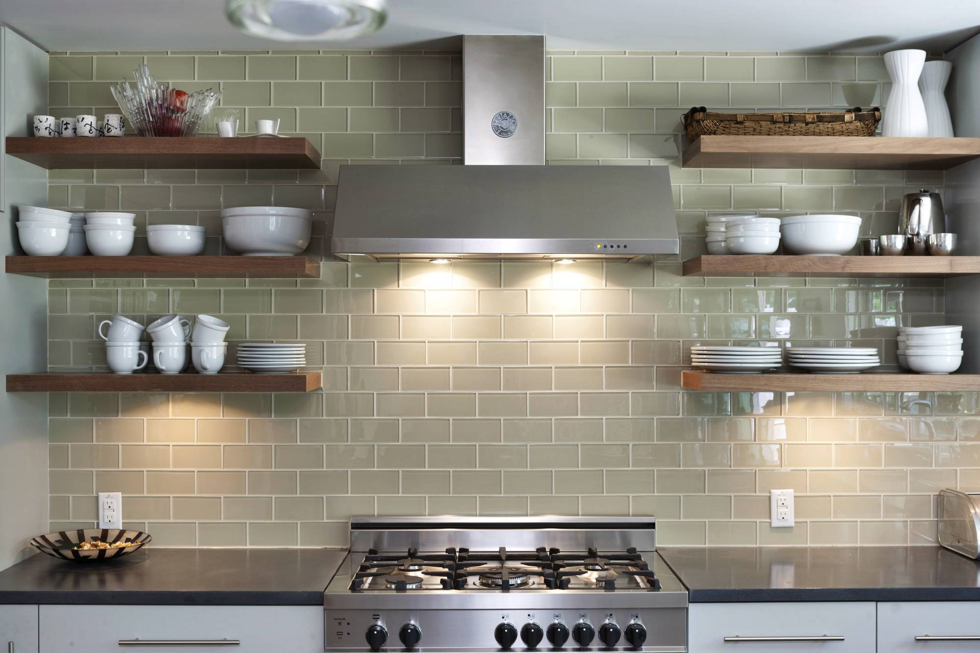 Bright Lighting On Grey Kitchen Tile Ideas And Glossy Range Hood Near Oak Wall Shelves Decorative Backsplash